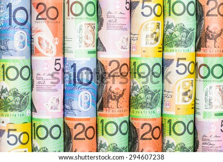 Colorful background and texture of Australian dollars