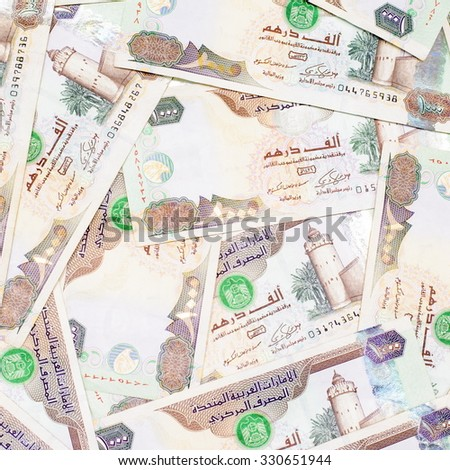 Colorful background and texture of Dubai or United Arab Emirates currency,money got profit from business