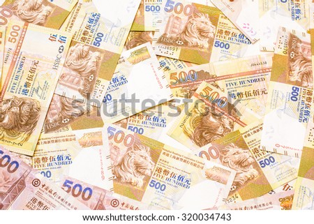Colorful background and texture of five hundred Hong kong dollar currency,money got profit from business