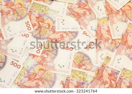 Colorful background and texture of five hundred Swedish Kronor currency,money got profit from business