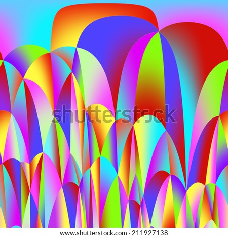 Colorful background from many multicolored waves  - stock photo