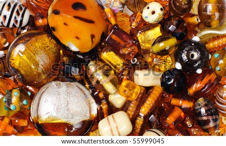 colorful background made of different kinds of beads - stock photo