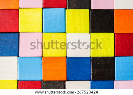 Colorful background made of wooden bricks
