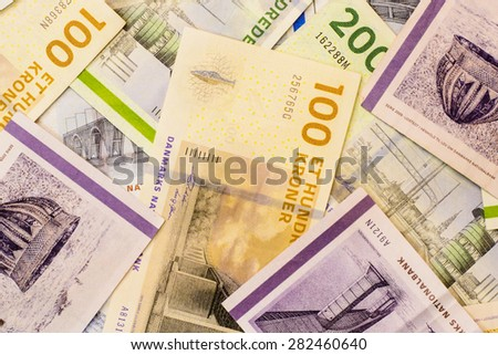 Colorful background of Danish currency,money kroner - stock photo