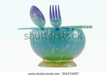 Colorful background of object, The coconut cup.