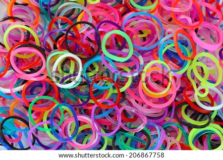 Colorful background of rainbow loom rubber bands.