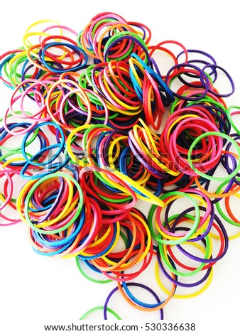 Colorful background rainbow colors rubber bands loom.