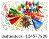 colorful background with garlands, streamer, cracker, party hats and confetti. festive decoration - stock photo