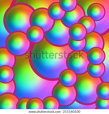 Colorful background with iridescent spheres - stock photo