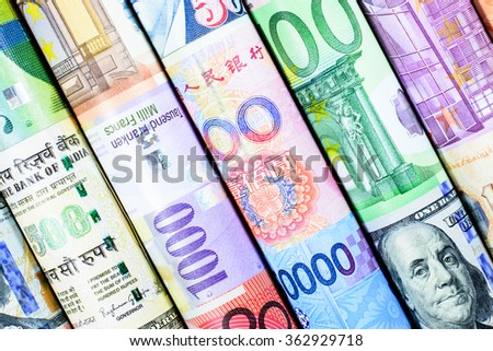 Colorful background with many currency,money from many country