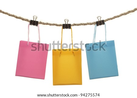 Colorful bags isolated on white - stock photo