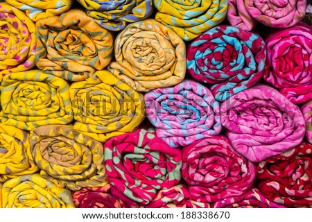 Colorful balinese cloth for sale, Ubud, Bali, Indonesia  - stock photo