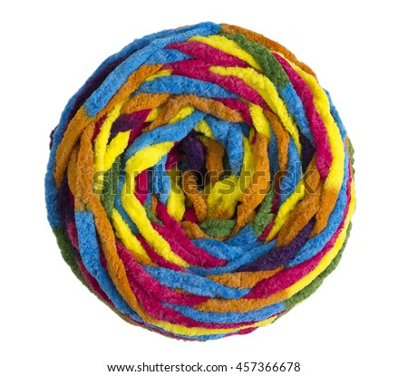 Colorful ball of woolen yarn isolated on white background - stock photo