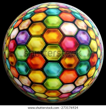 colorful ball on black background - stock photo