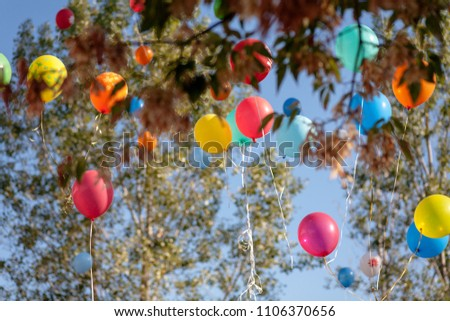 Colorful Balloon Flying Up In Sky