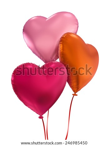 colorful balloon hearts, 3d objects isolated on white background - stock photo