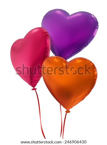 colorful balloon hearts, 3d objects isolated on white background, Valentines day - stock photo