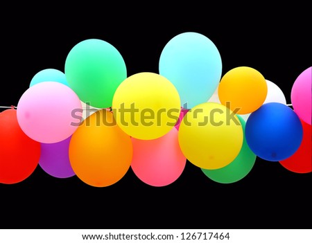 colorful Balloon isolated on black background. - stock photo