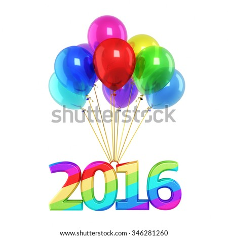 Colorful balloons and New Year 2016 render (isolated on white and clipping path) - stock photo
