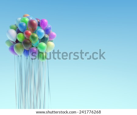 Colorful balloons flying up against the blue sky - stock photo