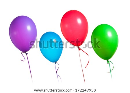 colorful balloons group, isolated on white