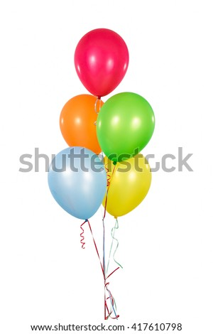 Colorful Balloons in isolated White Background - stock photo