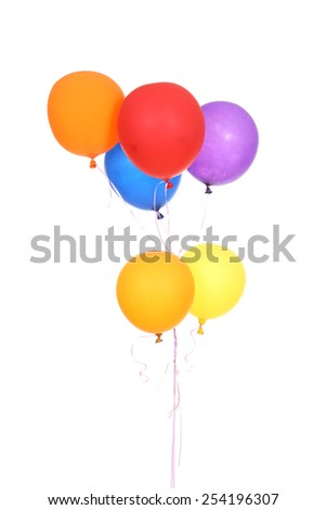 Colorful balloons isolated on a white background