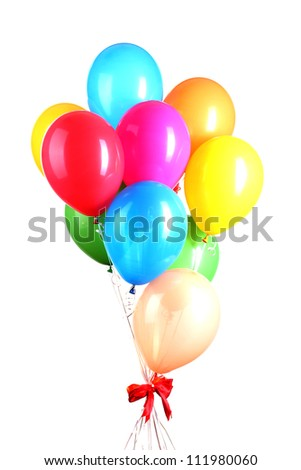Colorful balloons isolated on white - stock photo