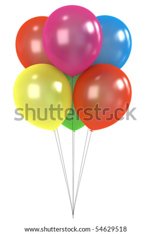 Colorful balloons isolated on white background.