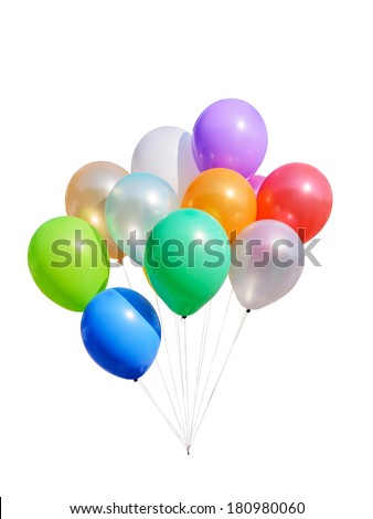 Colorful balloons isolated on white background with clipping path - stock photo