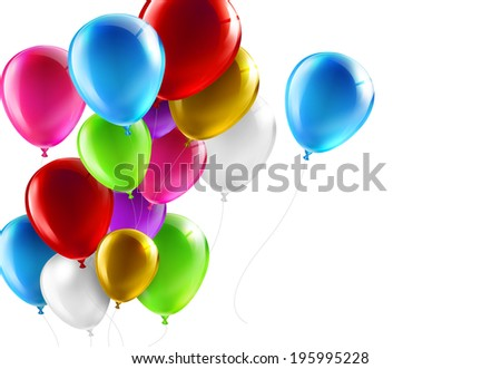 colorful balloons on a white background