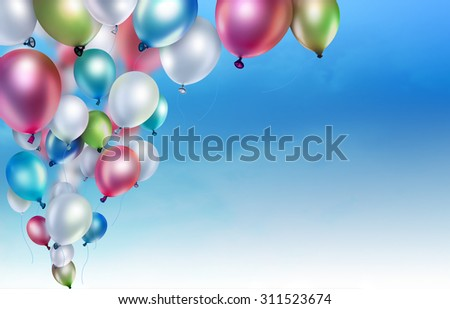 colorful balloons on the sky background - stock photo