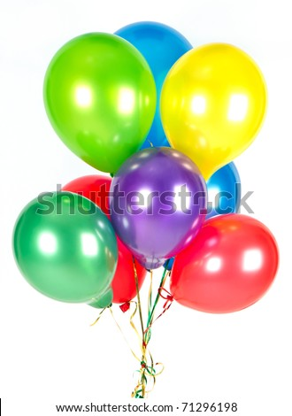colorful balloons. party decoration - stock photo