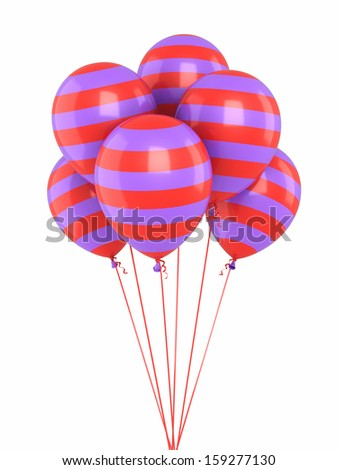 colorful balloons render (isolated on white and clipping path)  - stock photo