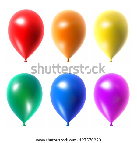 Colorful balloons set isolated on white background.