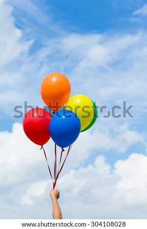 Colorful balloons with blue sky  - stock photo