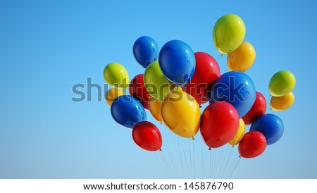 Colorful Balloons with Clipping Path  - stock photo