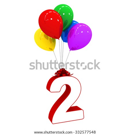 Colorful Balloons with Number 3d render two 2 - stock photo