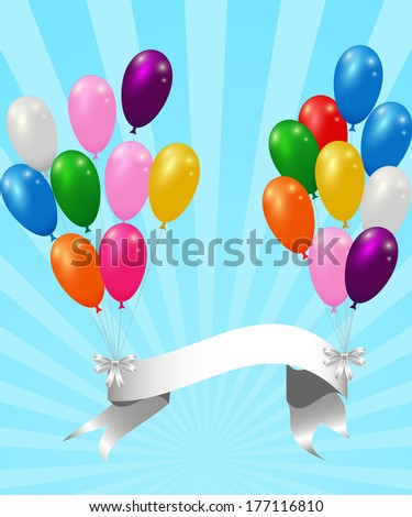 colorful balloons with ribbon on the striped background card template  - stock photo
