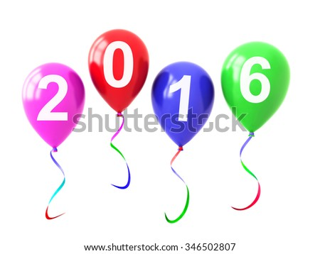 Colorful Balloons Year 2016 isolated on white