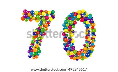 Colorful balls in red, blue, yellow, orange and green forming the number 70 over white background