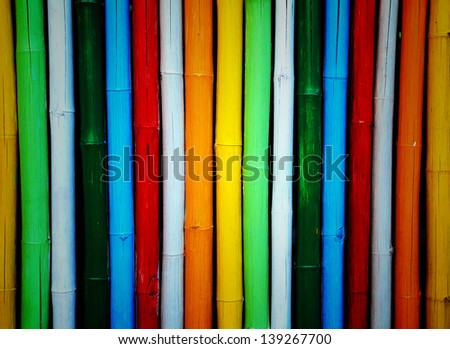 Colorful bamboo. Fence