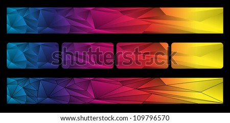Colorful banners set of on the black. Vector illustration.