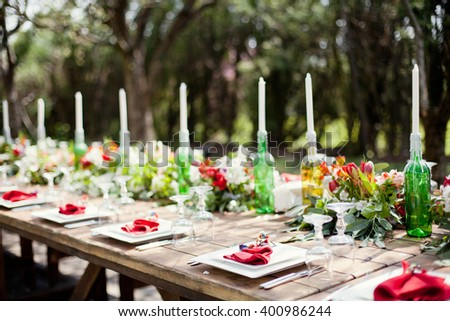 Colorful banquet table in spring garden