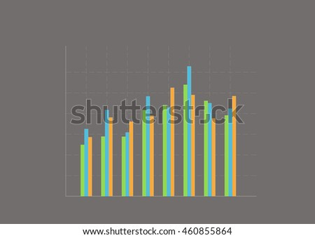 Colorful bar charts on grey background. - stock photo