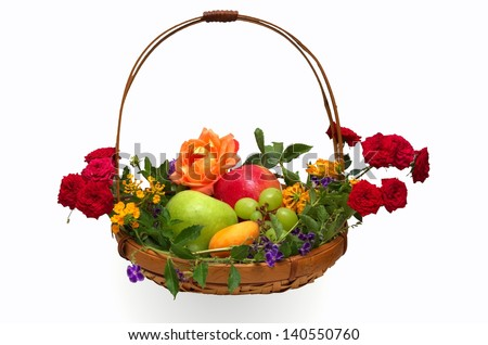 Colorful basket of fruit decorated with flowers isolated on white. Prepared traditionally to celebrate the Jewish festival of Shavuot (Feast of Weeks) or Pentecost. - stock photo