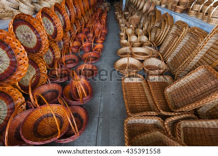 Colorful baskets in rows.