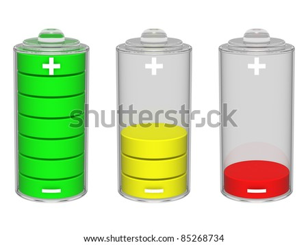 Colorful battery icon. Isolated on the white background. - stock photo