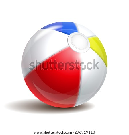Colorful beach ball isolated on a white background. Symbol of summer fun at the pool or seaside.