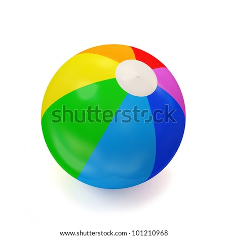 Colorful Beach Ball isolated on white background - stock photo